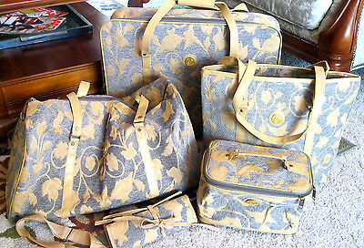 5 PC YELLOW/GRAY LIGHT WEIGHT TAPESTRY COLLECTION LUGGAGE SET