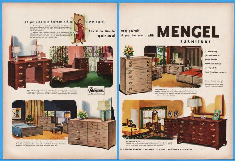 1950 Mengel Furniture Louisville KY four bedroom sets vintage magazine print ad