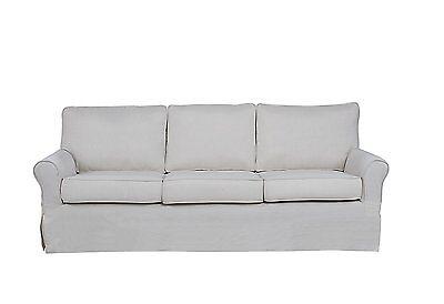 Beige Classic Living Room Linen Fabric Skirted Sofa