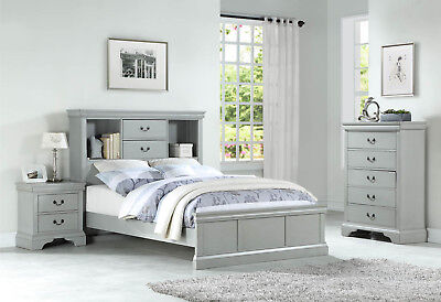 NEW 3PC PRESCOTT GRAY WHITE PINK WOOD CAPTAIN BOOKCASE TWIN or FULL BEDROOM -