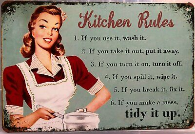KITCHEN RULES Rustic Look Vintage Tin Metal Sign Man Cave Shed-Garage and Bar Si