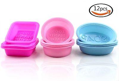 12pcs Handmade Square Silicone Soap Mold Soap Making Supplies Silicone (Soap Making Mold)