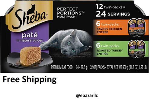 Sheba Wet Cat Food Pate Variety Pack, Savory Chicken & Roasted Turkey 24 Serving
