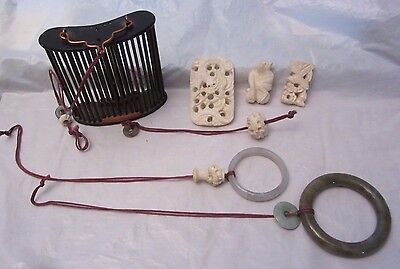 Antique Chinese Carved Bird Feeder Birdcage Decorations Jade Hanging Ring