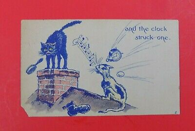 """And The Clock Struck One"" ~ Humorous Vintage Postcard ~ Cats-Clock-Shoe-Egg"