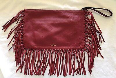 VALENTINO Rockee Fringe Leather Clutch Bag Handbag, Red