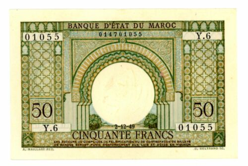 Morocco ... P-44 ... 50 Francs ... 2.12.1949 ... *AU+*