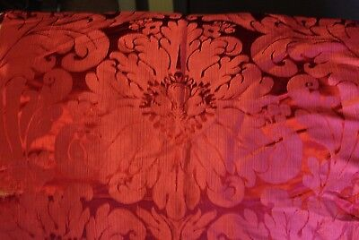 Exquisite 18thC French Cherry Red Silk Damask Fabric Textile~Damaged