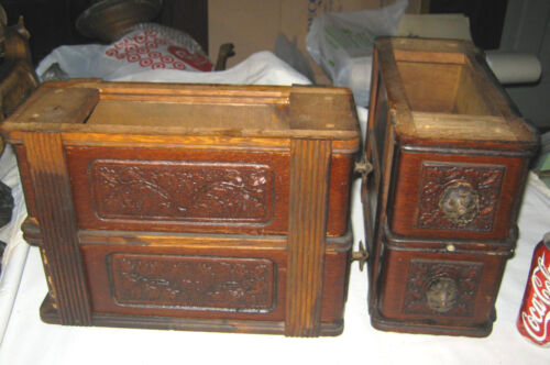 4 ANTIQUE SINGER SEWING MACHINE MISSION PRESSED OAK WOOD HARDWARE STORAGE DRAWS