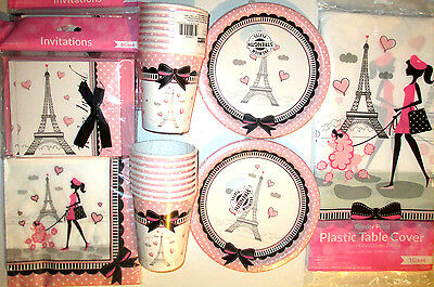 PARTY IN PARIS - Birthday Party Supply Set Pack Kit w/ Invitations