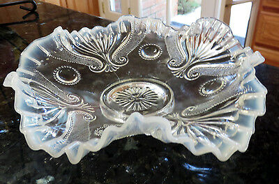 Jefferson JEWEL AND FAN Opalescent Candy Ribbon Edge Ruffled Glass Bowl 1904