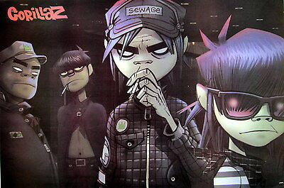 """GORILLAZ """"MENANCING LOOK ON BAND'S FACES"""" POSTER FROM ASIA - Damon Albarn, Blur"""