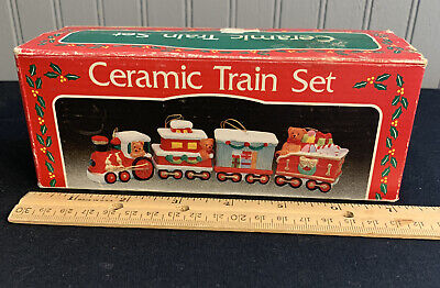 Set of 4 Vintage Handcrafted Ceramic Train Ornaments In Original Box
