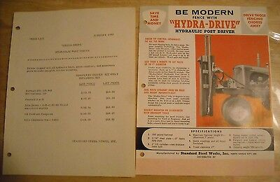 1957 Vintage Hydra Drive Hydraulic Post Driver Brochure Literature Ad