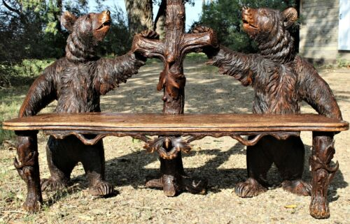 Antique - Black Forest Swiss Carved Bear Entry Bench Hall Coat Tree Mirror