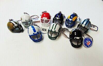 Lot of 9 - NFL Football Helmet Keychains - Key Fob - Lil Sports Brat