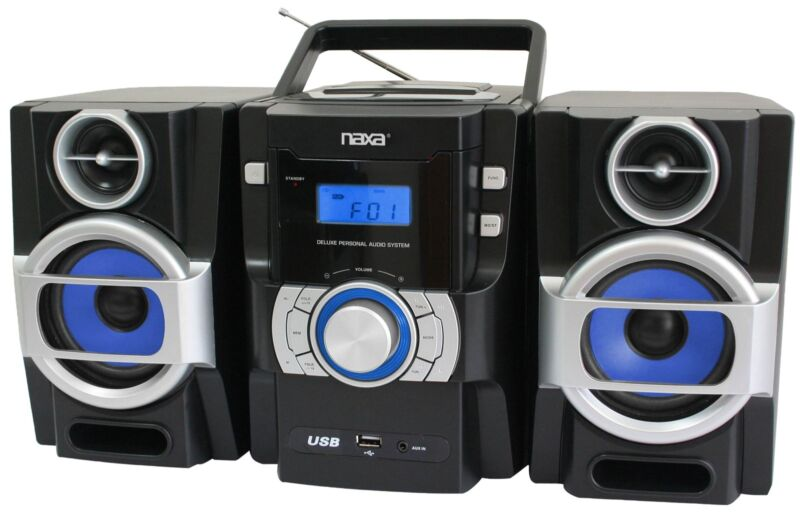 NAXA BOOMBOX PORTABLE MP3/CD PLAYER with PLL FM RADIO USB INPUT REMOTE CONTROL