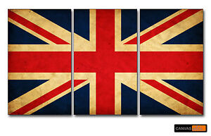 UNION JACK CANVAS WALL ART 3 PANEL LIMITED STOCK PICTURE