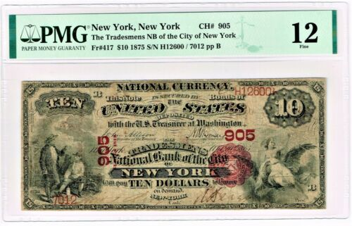 New York, NY - $10 1875 Fr. 417 Tradesmen