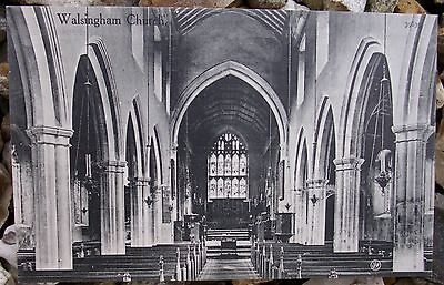 VINTAGE POST CARD ST MARYS CHURCH WALSINGHAM (PRIOR TO THE FIRE IN 1958)
