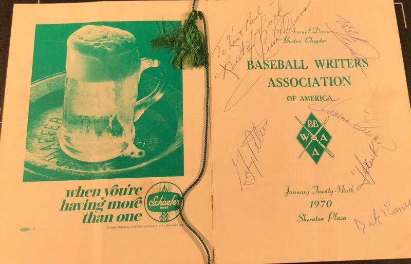 1970 Tony Conigliaro Boston Signed Dinner Program Jesse Owens/Yaz/Killebrew + 6