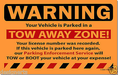 OTA 10 Orange TOW AWAY ZONE! WARNING Violation Towing Auto Car Window Stickers