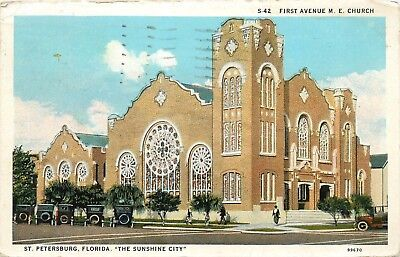 Postcard St Petersburg Florida Fl First Ave M E Church pm 1935 old cars