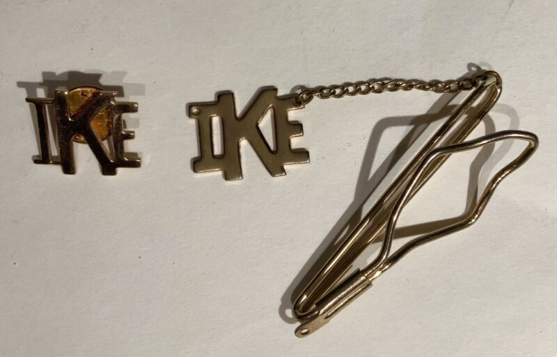 Vintage IKE Eisenhower Political Campaign Gold-Tone Lapel Pin and Clip