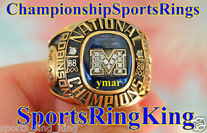 1989-MICHIGAN-WOLVERINES-RUMEAL-ROBINSON-NATIONAL-CHAMPIONSHIP-10K-RING-w-BOX