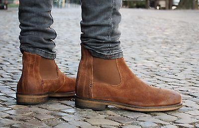 HUB Footwear Schuhe TACKLE L80 braun Echtleder Herren Stiefeletten Chelsea Boots