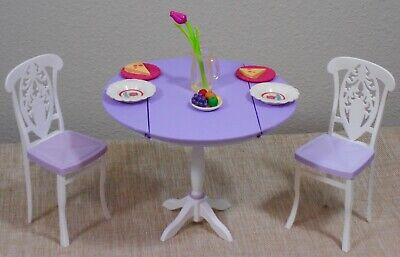 Barbie Doll Table Set_Table/2 Chairs_My House_Furniture_White & Purple_Mattel