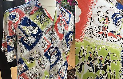 Vtg 40s 50s Cold Silky RAYON Novelty VACATION Print Men's Shirt Great Colors MED