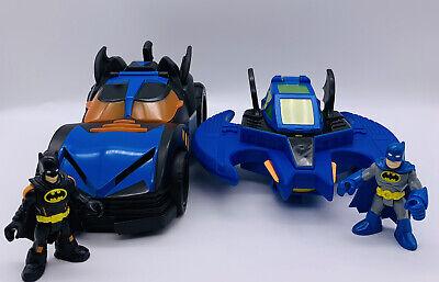 2009 Fisher-Price Batwing & Dc Comics Batman Motorized Batmobile  + 2 Figures