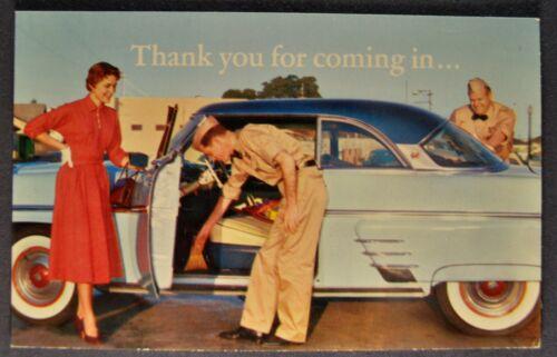 1954 Chevron Gas Station Postcard Brochure Mercury Monterey Excellent Original