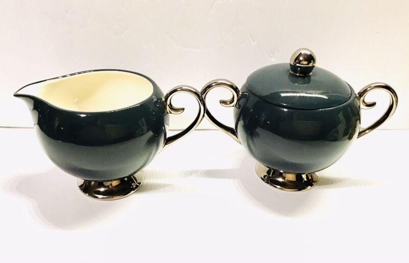Vintage Flintridge China - Teal w/ Platnum Trim creamer & Sugar