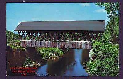 LMH Postcard KENISTON COVERED BRIDGE Town Lattice Truss Andover Blackwater River