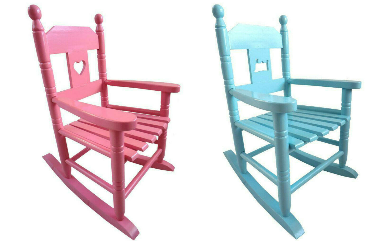 Kinder Schaukelstuhl Holz rosa pink blau hellblau Prinzessin Kinderzimmer Sessel
