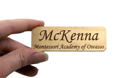 1x3 Wood Name Tag Personalized Employee Identification Badge Engrave Magnetpin