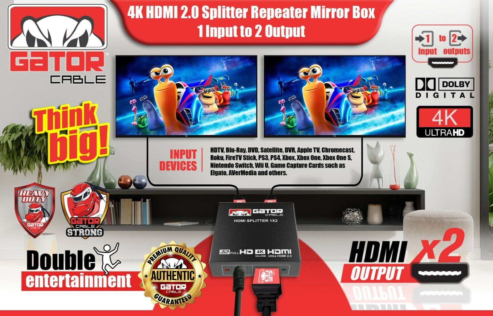 как выглядит 4K HDMI 2.0 Cable Repeater Mirror Splitter Amplifier HUB Box 3D 1 In 2 Out 1x2 фото