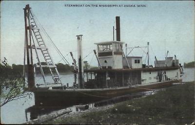 Anoka MN Steamboat Steamer Boat Mississippi River c1910 Postcard