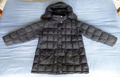 EDDIE BAUER Mens Black Quilted Goose Down Jacket Parka Coat w/ Hood Sz XXL 2XL