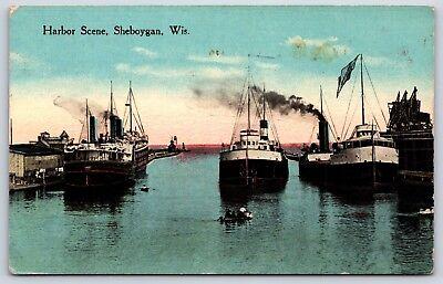 Boats in a Harbor Scene in Sheboygan, Wisconsin Divided Back Postcard