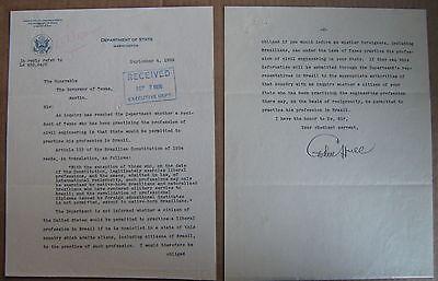 Cordell Hull Secretary Of State Typed Letter Signed September 4  1936 Very Fine