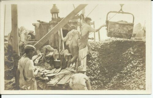 1915 Oyster Barge Workers Crew Crane Nautical Boat Real Photo Postcard