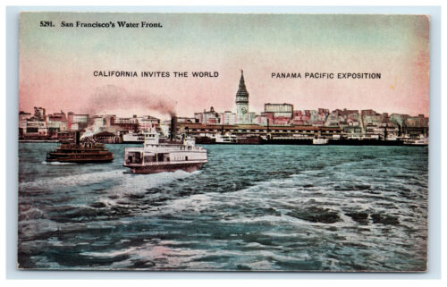 PPIE Postcard San Franciscos Water Front Worlds Fair Panama Pacific Exposition