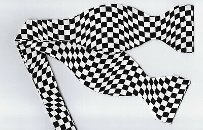 Checkered Flag Bow tie / Wavy Black & White Racing Checks / Self-tie Bow