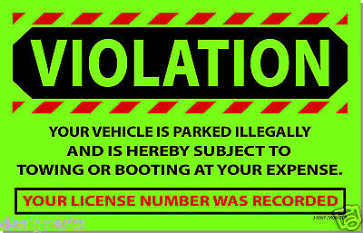GVI 10 Green VIOLATION Illegally Parked Tow Towing No Parking Auto Car Stickers