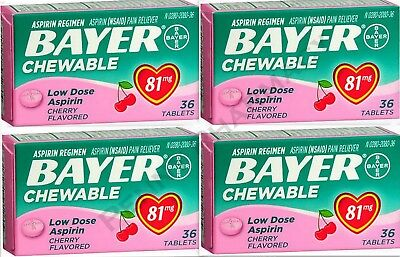 Bayer Chewable 'Baby' Aspirin 81mg Low Dose CHERRY 36 Tablets (4 pack) for sale  Salem