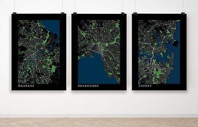 Set of 3 Australia City Maps Melbourne Sydney Brisbane Poster Art Print A3 A2 (Fit Melbourne Map)