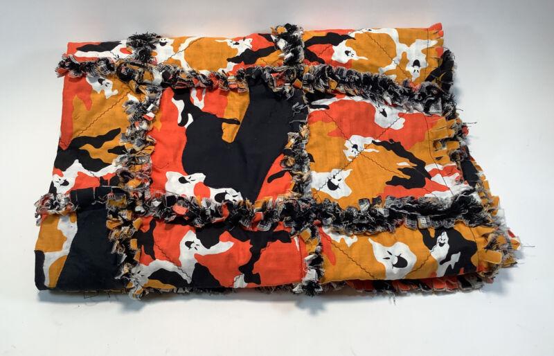 "Halloween Themed Quilt Orange, Yellow, Black w/Ghosts 36"" x 49"" Fringed Edges"